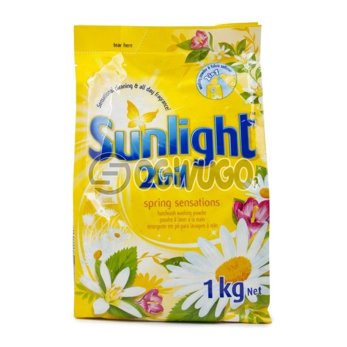 One kilogram (1kg) Sunlight 2in1 powdered washing detergent sachet for fresher and clean white clothes.: unable to load image
