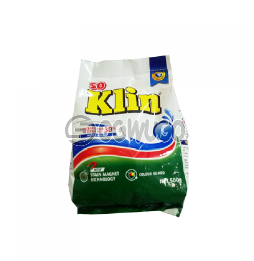 500 grams (500g) So KLIN powdered washing detergent for fresher and clean white clothes.