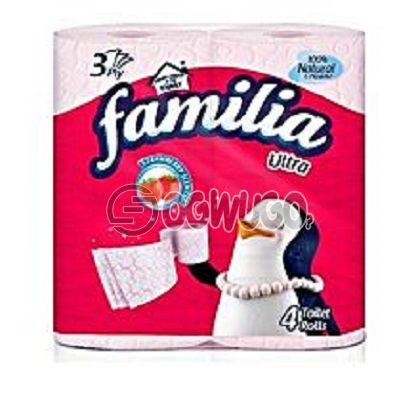4 pieces of very thin, soft, delicate and pink coloured Familia Ultra Tissue paper.: unable to load image