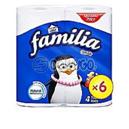 4 pieces of very thin, soft, delicate and white coloured Familia Ultra Tissue paper.