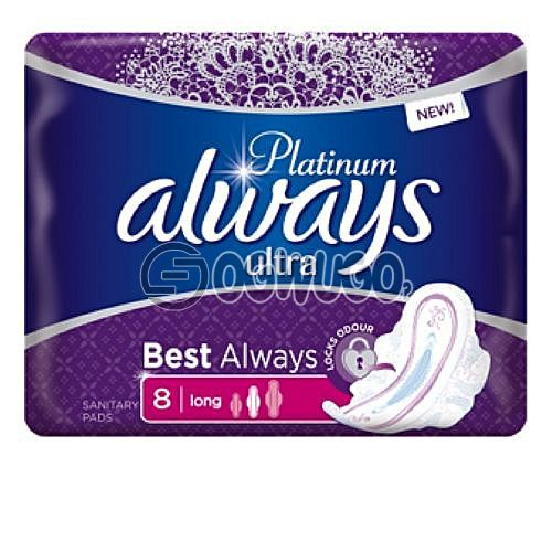 New ALWAYS Ultra thin sized platinum pack sanitary pads for long lasting hours.