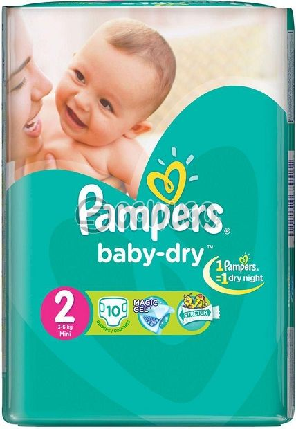 10 pieces Pampers Dry Mini Diapers pack for toddlers for long lasting dry nights. (3-6kg): unable to load image