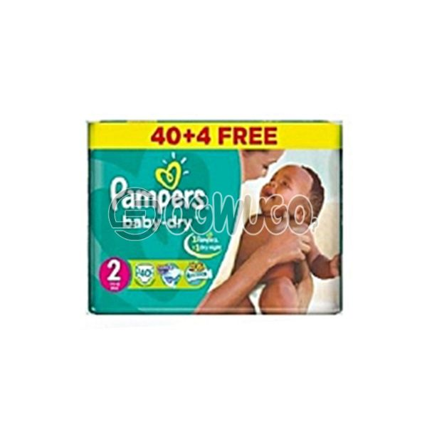 40+4 pieces Pampers Dry Mini Diapers pack for toddlers for long lasting dry nights. (3-6kg)