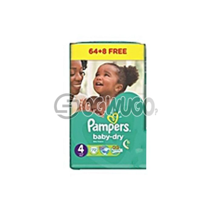 64+8 pieces Pampers Dry Mini Diapers pack for toddlers for long lasting dry nights. (3-6kg).