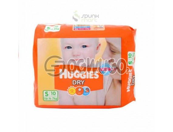 10 pieces Huggies Dry Mini Diapers pack for toddlers for long lasting dry nights.(7kg).