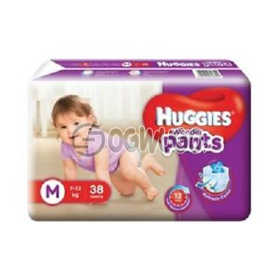 38 pieces Huggies Dry Mini Diapers pack for toddlers for long lasting dry nights. (7-12kg).