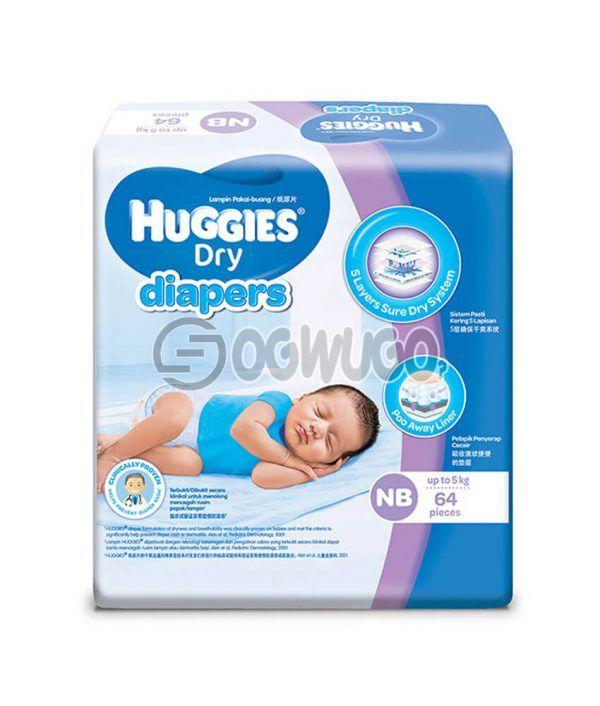 64 pieces Huggies Dry Mini Diapers pack for toddlers for long lasting dry nights. (5>kg).