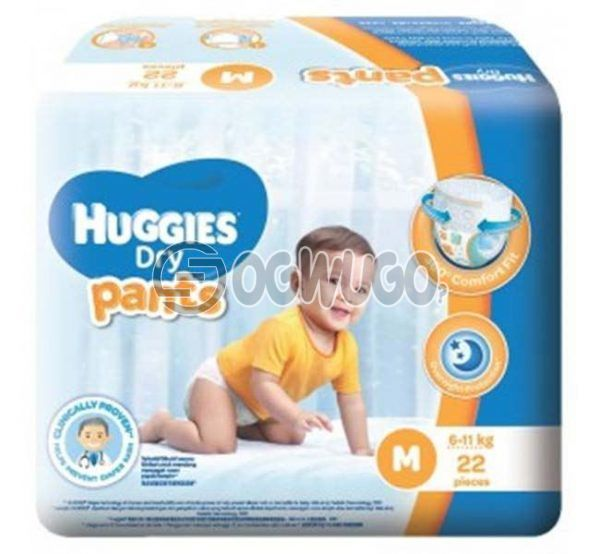 22 pieces Huggies Dry Mini Diapers pack for toddlers for long lasting dry nights. (6-11kg).