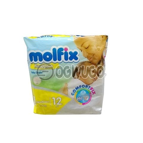 12 pieces Molfix Dry Mini Diapers pack for toddlers for long lasting dry nights. (2-5kg).