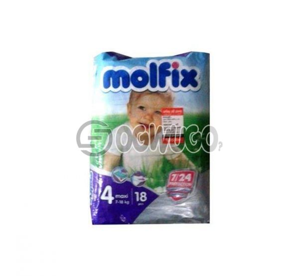 18 pieces Molfix Dry Mini Diapers pack for toddlers for long lasting dry nights. (3-7kg).