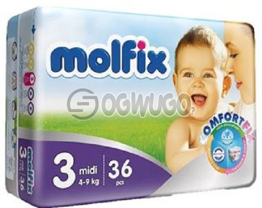 36+2 pieces Molfix Dry Mini Diapers pack for toddlers for long lasting dry nights. (4-9kg).