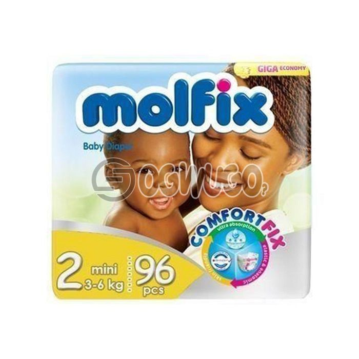 96+4 pieces Molfix Dry Mini Diapers pack for toddlers for long lasting dry nights. (6>kg).