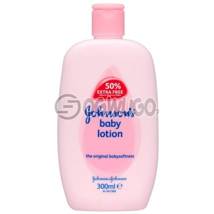 Johnson's baby lotion with essential emollients for the proper moisturizing of baby's soft skin.