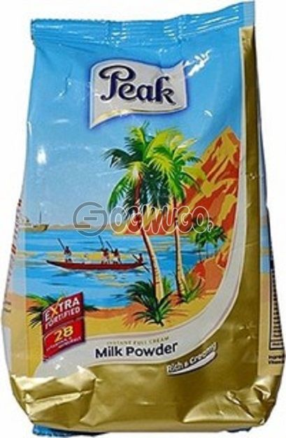 380 grams (380g) Peak milk refill powder, highly fortified with over 28 vitamins and minerals.
