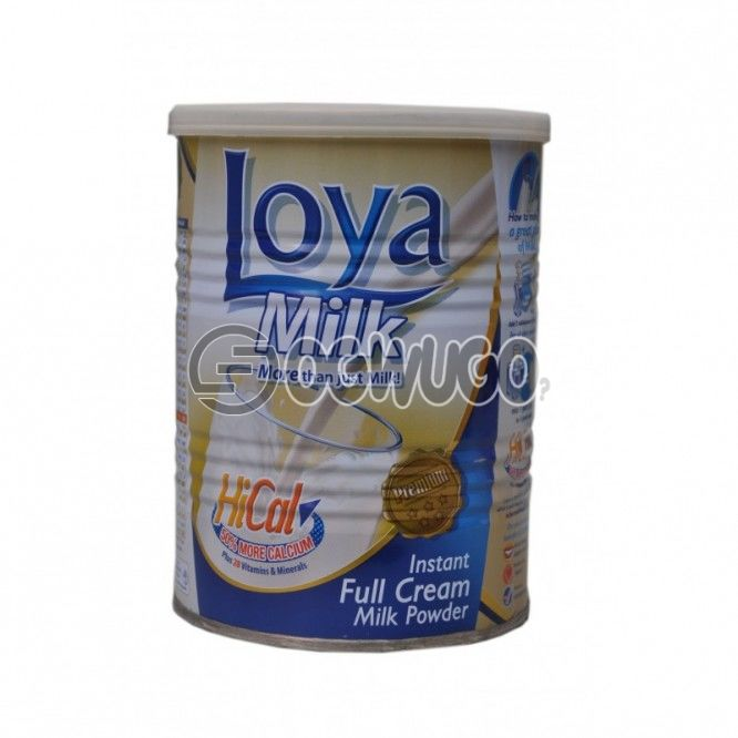400 grams (400g) Loya milk tin, highly nutritious and creamy and extra fortified with vitamins, calcium and other essential minerals.