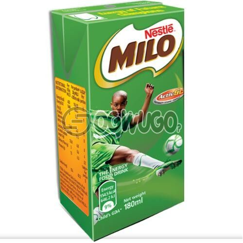MILO food drink made from sugar, chocolate and malt powder, mixed with hot or cold water or milk.