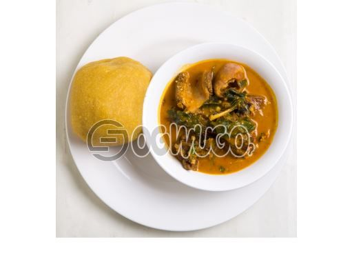 Swallow with  Ora/Oha soup or with Either Egusi soup or with Bitter Leaf soup and Three big meat. : unable to load image