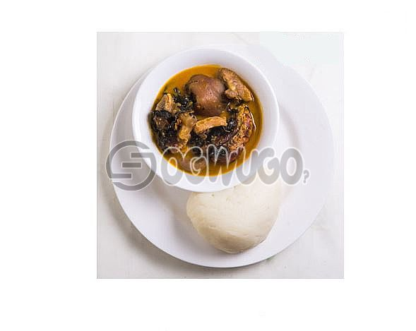 Nsala Soup with a hot swallow which can be either, garri, semo, wheat or fufu please select your swallow type