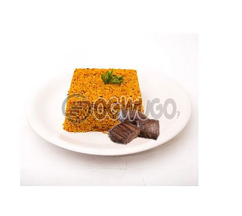 Hot Delicious savory Jollof Rice and 3 big Beef. It comes with well garnished beef Just the way you like.