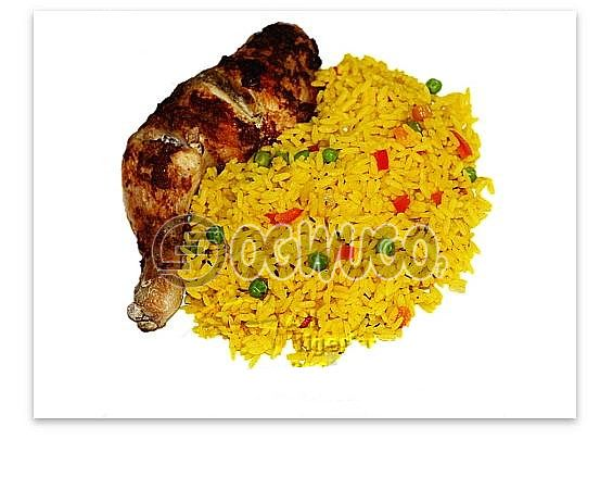 Hot Savory Delicious Spicily Prepared Fried Rice and Tasty Chicken with a very sweet Aroma.