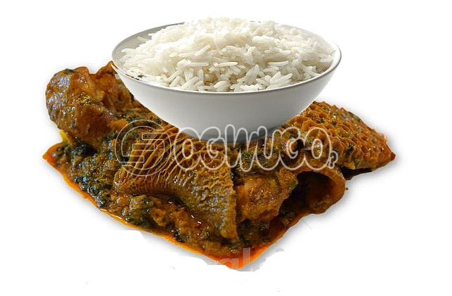 Tasty Delicious Hot White Rice with Ofe akwu stew With a well garnished Three pieces of Beef. : unable to load image