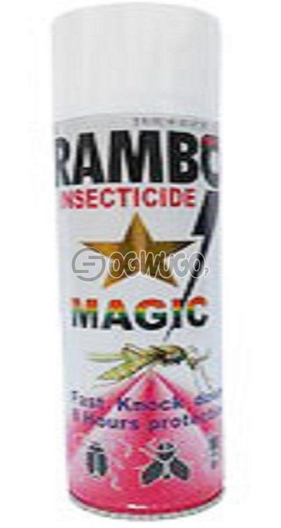300ml Rambo Insecticide MAGIC spray, formulated with powerful magic action that quickly knocks down both crawling and flying insects.