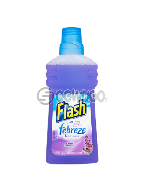 All purpose Flash Relaxing Lavender liquid Cleaner;  dissolves grease and dirt, leaving freshness and brilliant shine.