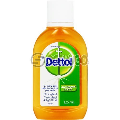 125ml Dettol Antiseptic Disinfectant; kills up to 99.9% of germs and is used to disinfect wounds protecting it against infections.