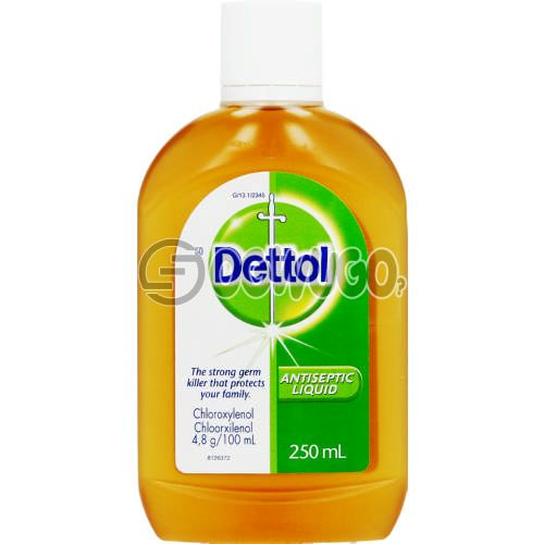 250ml Dettol Antiseptic Disinfectant; kills up to 99.9% of germs and is used to disinfect wounds protecting it against infections.