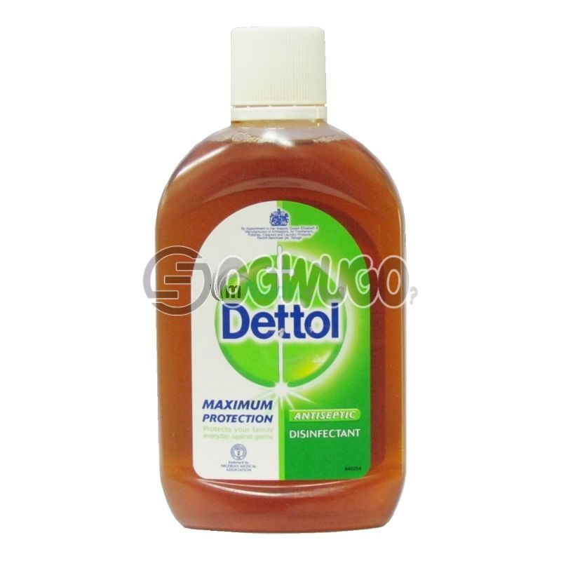 500ml Dettol Antiseptic Disinfectant; kills up to 99.9% of germs and is used to disinfect wounds protecting it against infections.