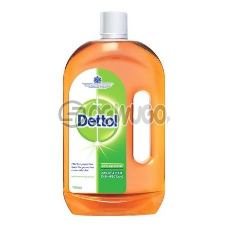 750ml Dettol Antiseptic Disinfectant; kills up to 99.9% of germs and is used to disinfect wounds protecting it against infections.