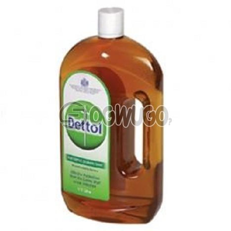 One litre (1L) Dettol Antiseptic Disinfectant; kills up to 99.9% of germs and is used to disinfect wounds protecting it against infections.