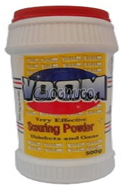 Voom scouring powder with a refreshing lemon fragrance formulated to remove stubborn stains.