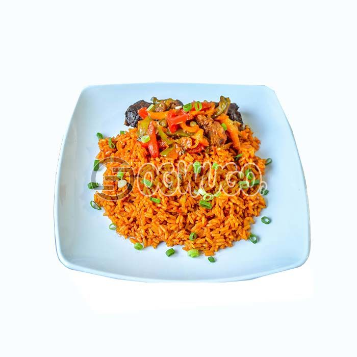 Hot spicy Jellof rice, absolutely tasty and comes with two pieces of beef.