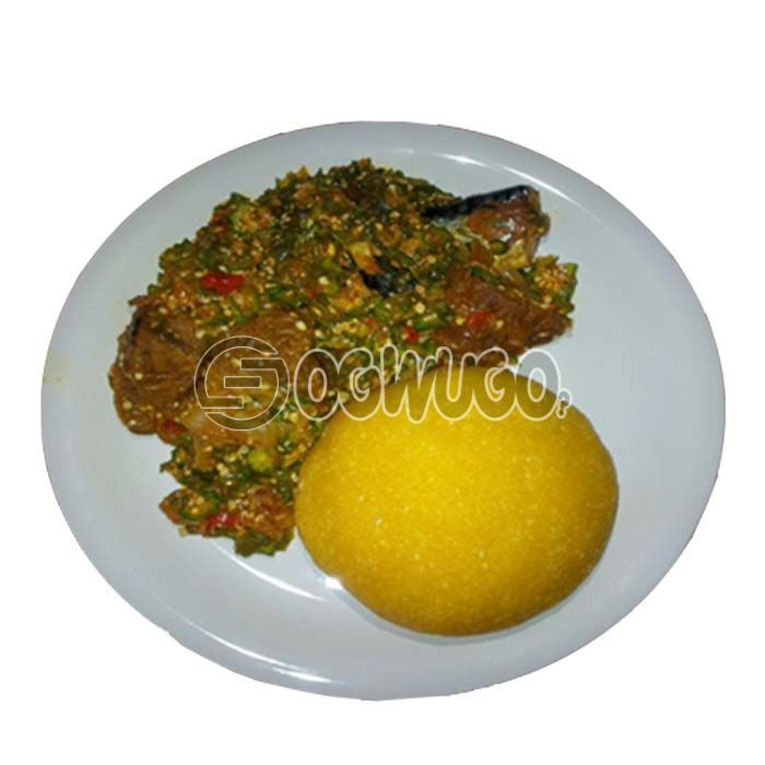 Very delicious, tasty and highly nutritious Okro soup with either wheat, semo, garri or pounded yam.