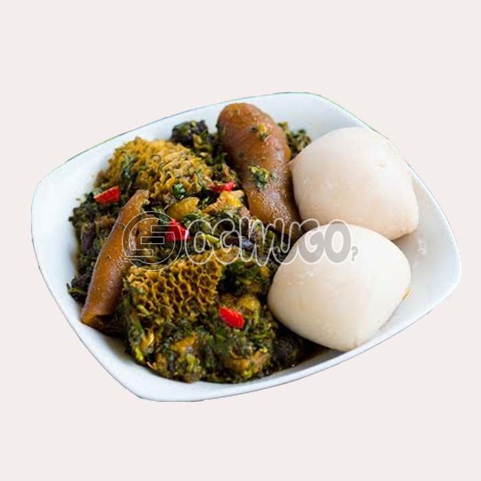 Very delicious, tasty and highly nutritious Afang soup with either wheat, semo, garri or pounded yam.