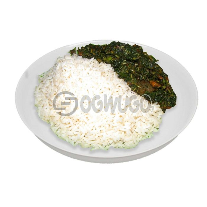 Hot delicious and tasty white Rice and Vegetable sauce with two pieces of beef.