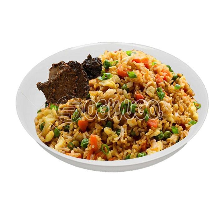Hot spicy Chinese rice, absolutely tasty and comes with two pieces of beef.