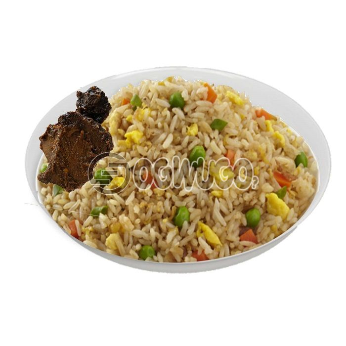 Hot spicy Fried rice, absolutely tasty and comes with two pieces of beef.