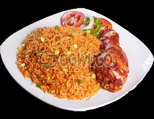 Jollof rice and one medium size chicken, this meal is very delicious. order now and we will deliver to your or office