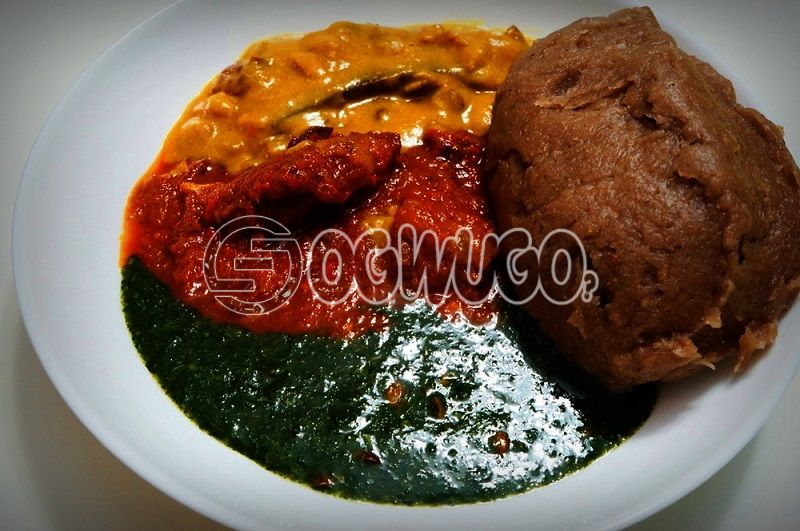 Amala Ewedu, Gbegiri (Beans soup) with One Big Goat Meat Delicious and Ready to Eat. Meal will be ready by 12pm,