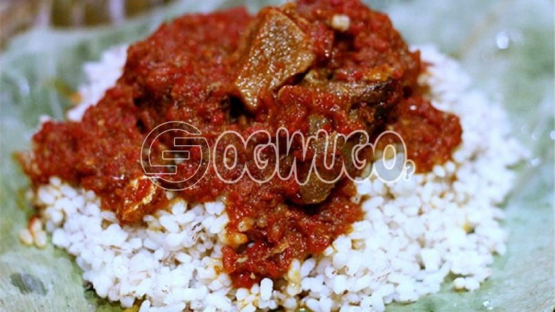 White Rice with Pepper Stew and Two Big Cow Meat Delicious and ready to serve.  meal is available as from 12pm - 5pm