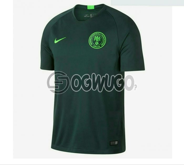 Nigerian Super Eagles Home and Away Jersey plain green color for the 2018 World Cup.: unable to load image