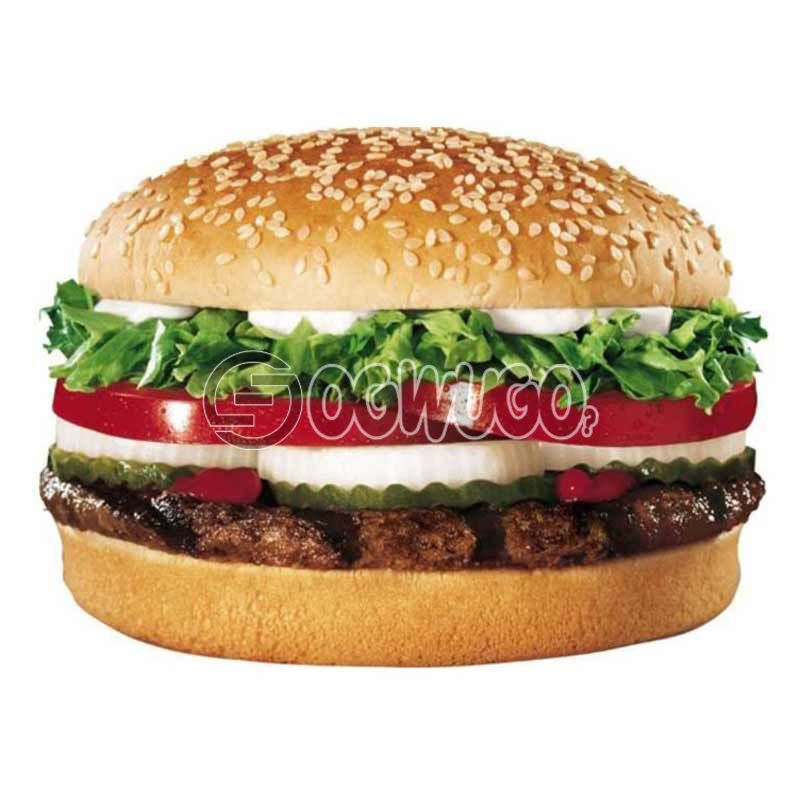 Perfectly grilled BEEF Burger, made with fresh tomatoes, lettuce, cucumber and melted cheese.: unable to load image