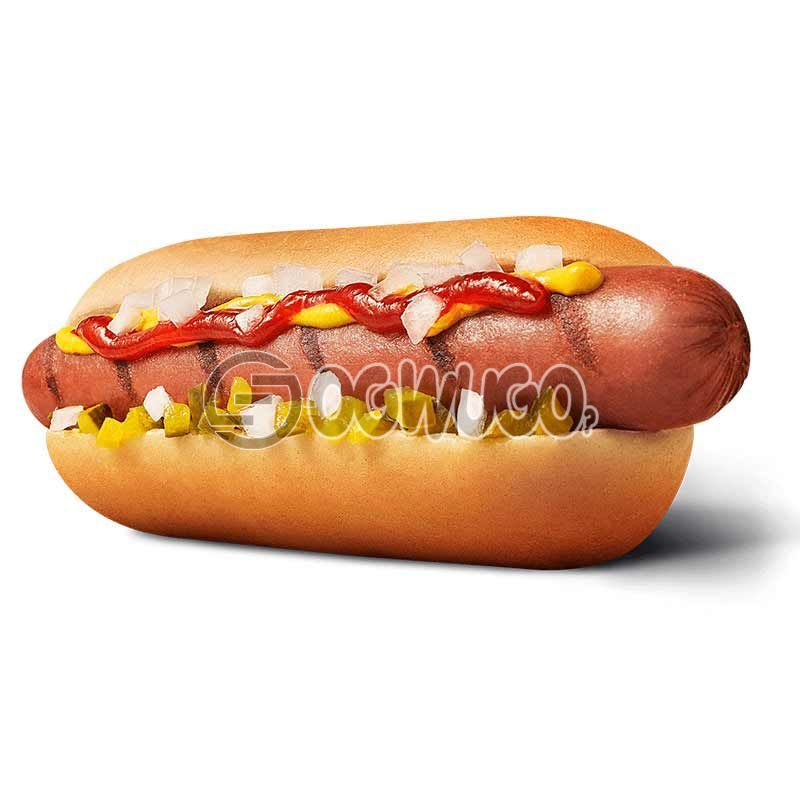 MINCED MEAT hotdog, contains fresh tomatoes, minced meat, lettuce, spring onions and topped with mustard. : unable to load image