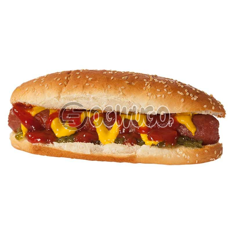CREAMED CHEESE hotdog, contains fresh tomatoes, creamed cheese, lettuce, spring onions and topped with mustard. : unable to load image