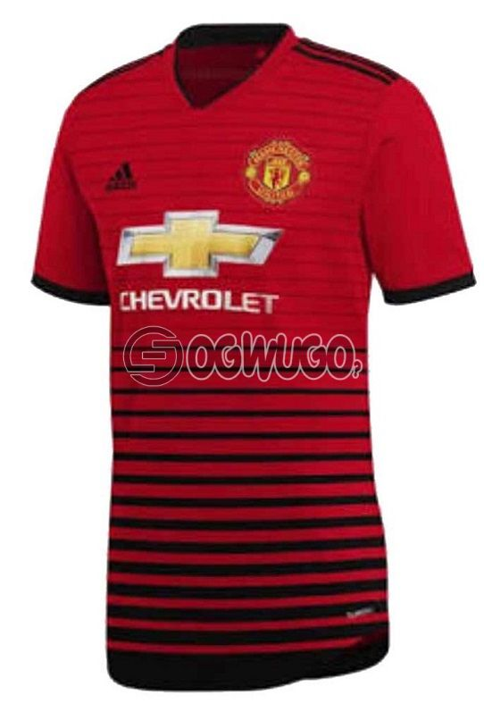 The Official Manchester United Football Club Original Home Jersey Kit for the Upcoming 2018/19 Season.: unable to load image
