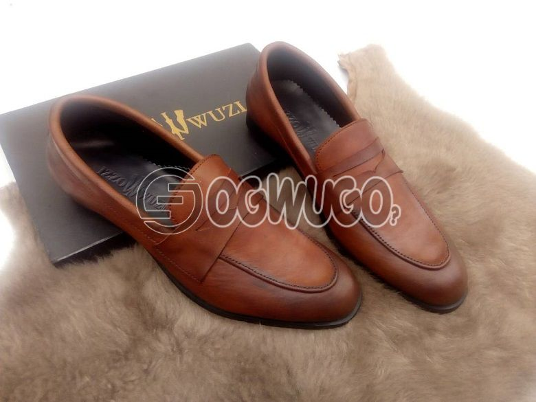Izzowuzi special men's formal wear; BROWN in color & made with pure leather material.