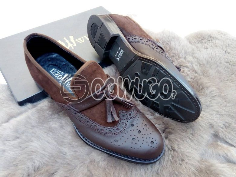 Izzowuzi special men's corporate DARK BROWN footwear; made with strong leather material.: unable to load image