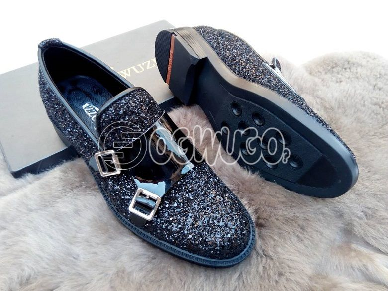 Izzowuzi men's casual wear; BLACK in color & made with shiny patent leather material.